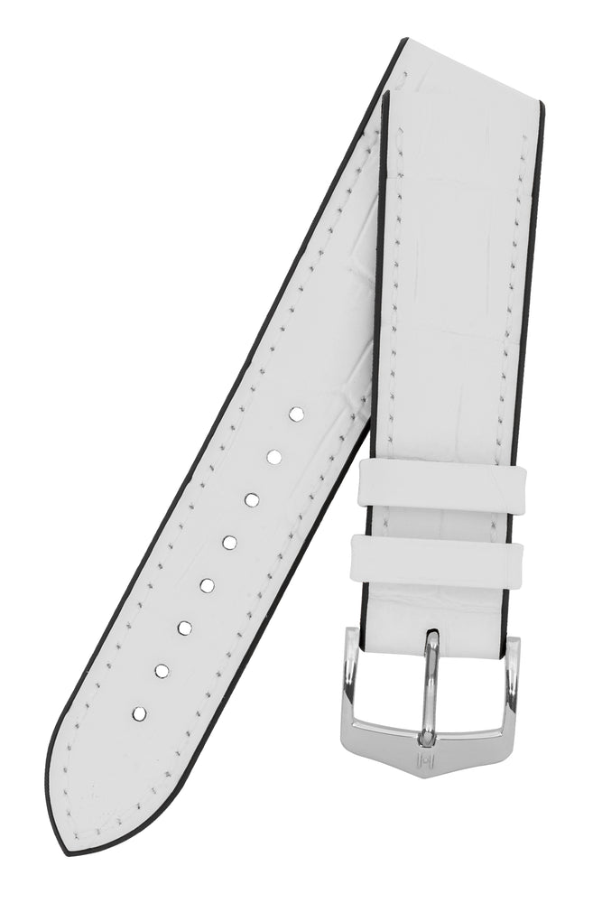 Hirsch Paul Alligator-Embossed Performance Rubber-Core Watch Strap in White