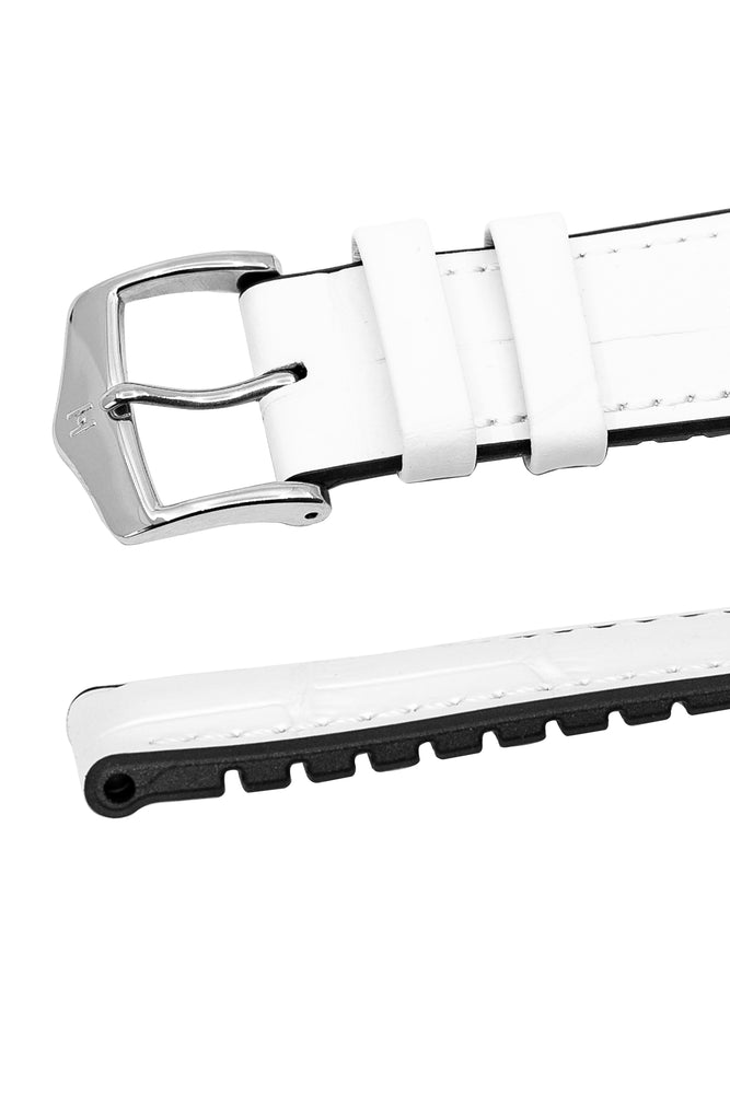 Hirsch Paul Alligator-Embossed Performance Rubber-Core Watch Strap in White (Keepers & Padding)