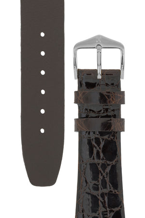 Hirsch PRESTIGE Shiny Genuine Crocodile Leather Watch Strap in BROWN