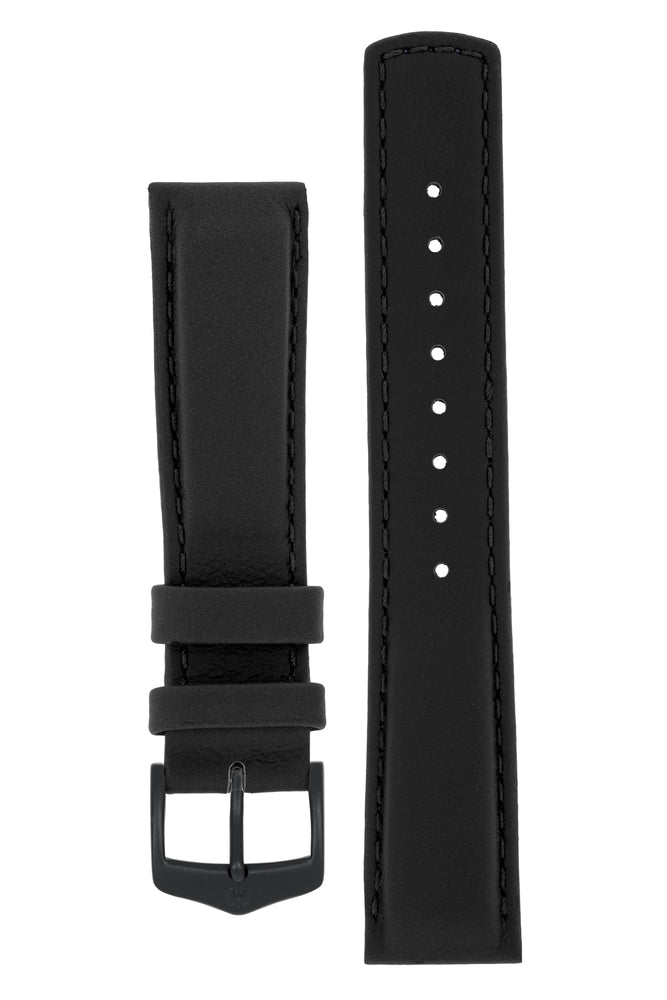Hirsch Rrunner Water-Resistant Calf Leather Watch Strap in Black (with Black PVD-Coated Steel H-Classic Buckle)