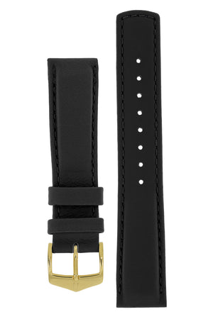 Hirsch Rrunner Water-Resistant Calf Leather Watch Strap in Black (with Polished Gold Steel H-Classic Buckle)
