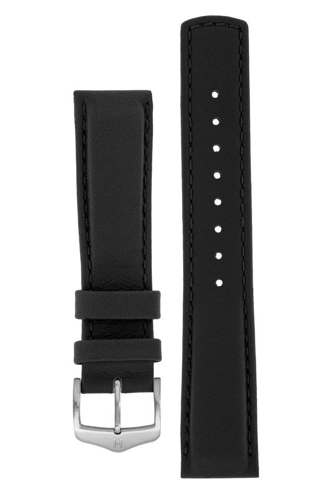 Load image into Gallery viewer, Hirsch Rrunner Water-Resistant Calf Leather Watch Strap in Black (with Brushed Silver Steel H-Classic Buckle)
