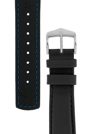 Load image into Gallery viewer, Hirsch Rrunner Water-Resistant Calf Leather Watch Strap in Black (Underside & Tapers)