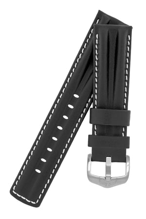 Hirsch PROFESSIONAL Calf Leather Watch Strap in BLACK / WHITE