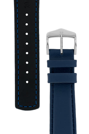 Hirsch RUNNER Water-Resistant Calf Leather Watch Strap in BLUE