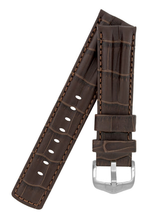 Hirsch PROFESSIONAL Alligator Embossed Leather Watch Strap in BROWN