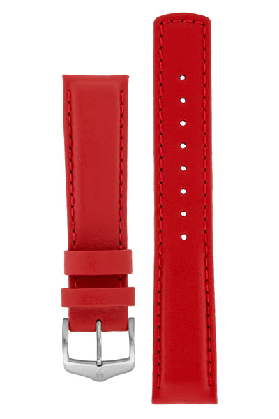 Hirsch RUNNER Water-Resistant Calf Leather Watch Strap in RED