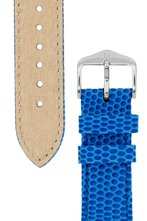 Hirsch RAINBOW Lizard Embossed Leather Watch Strap in ROYAL BLUE