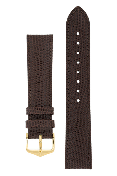 Hirsch RAINBOW Lizard Embossed Leather Watch Strap in BROWN