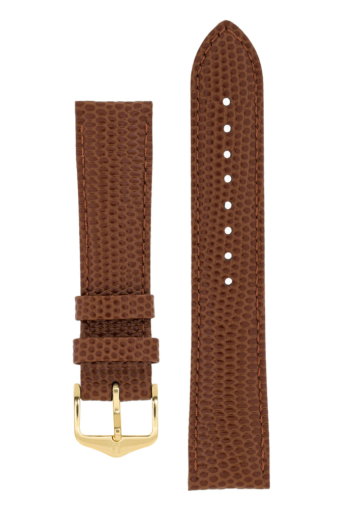 Hirsch Rainbow Lizard-Embossed Leather Watch Strap in Gold Brown (with Polished Gold Steel H-Tradition Buckle)