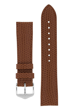 Hirsch Rainbow Lizard-Embossed Leather Watch Strap in Gold Brown (with Polished Silver Steel H-Tradition Buckle)