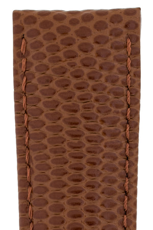 Hirsch Rainbow Lizard-Embossed Leather Watch Strap in Gold Brown (Close-Up Texture Detail)