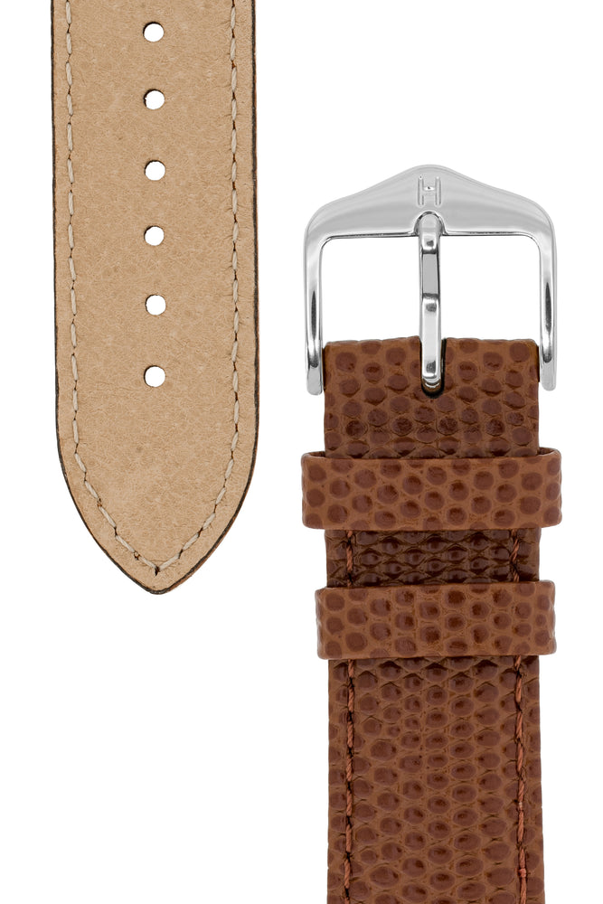 Hirsch Rainbow Lizard-Embossed Leather Watch Strap in Gold Brown (Underside & Tapers)