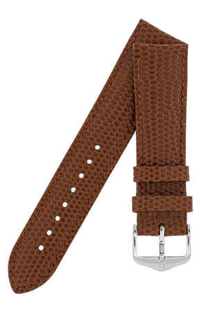 Hirsch Rainbow Lizard-Embossed Leather Watch Strap in Gold Brown