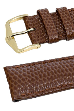 Hirsch Rainbow Lizard-Embossed Leather Watch Strap in Gold Brown (Keepers & Padding)