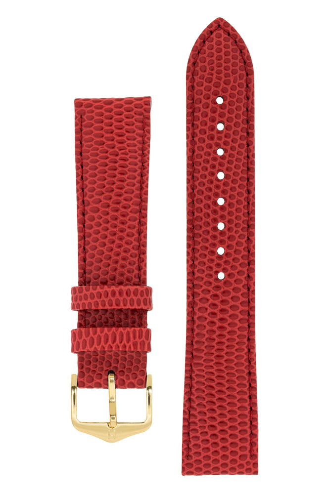 Load image into Gallery viewer, Hirsch Rainbow Lizard-Embossed Leather Watch Strap in Red (with Polished Gold Steel H-Tradition Buckle)