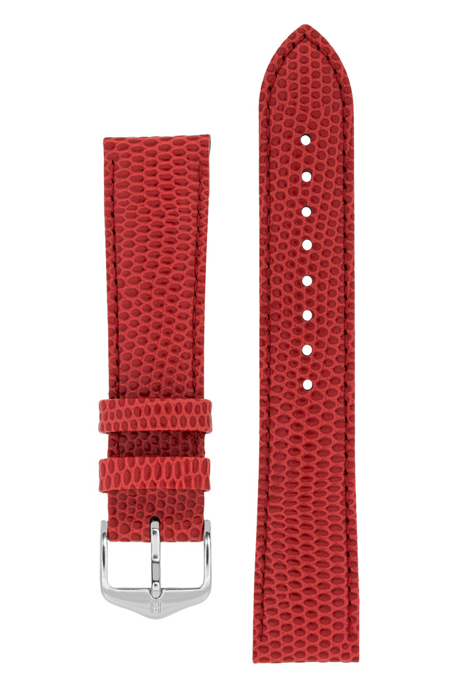 Load image into Gallery viewer, Hirsch Rainbow Lizard-Embossed Leather Watch Strap in Red (with Polished Silver Steel H-Tradition Buckle)