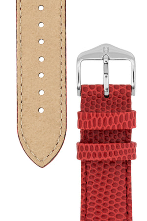 Hirsch Rainbow Lizard-Embossed Leather Watch Strap in Red (Underside & Tapers)