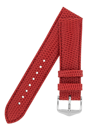 Hirsch Rainbow Lizard-Embossed Leather Watch Strap in Red