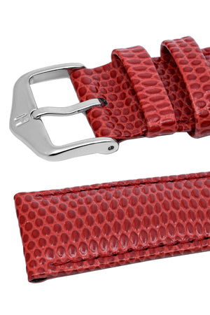 Hirsch Rainbow Lizard-Embossed Leather Watch Strap in Red (Keepers & Padding)