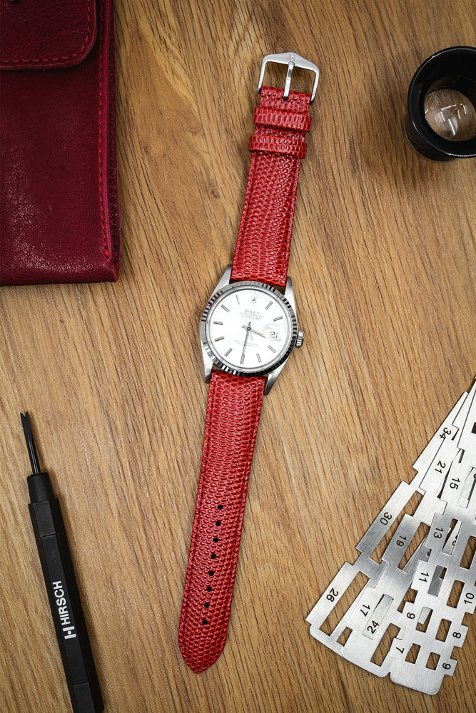 Hirsch Rainbow Lizard-Embossed Leather Watch Strap in Red (Promo Photo)