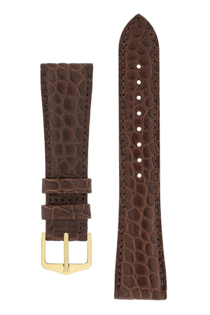 Hirsch Regent Genuine Alligator Leather Watch Strap in Brown (with Polished Gold Steel H-Tradition Buckle)
