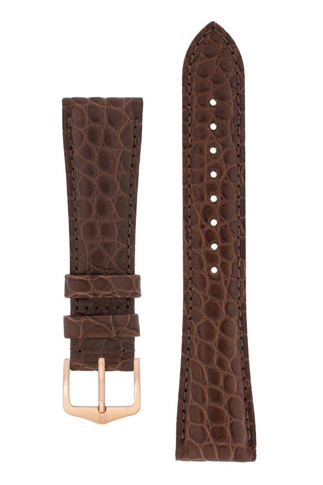 Hirsch Regent Genuine Alligator Leather Watch Strap in Brown (with Polished Rose Gold Steel H-Tradition Buckle)