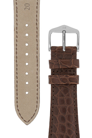 Hirsch REGENT Genuine Alligator Leather Watch Strap in BROWN