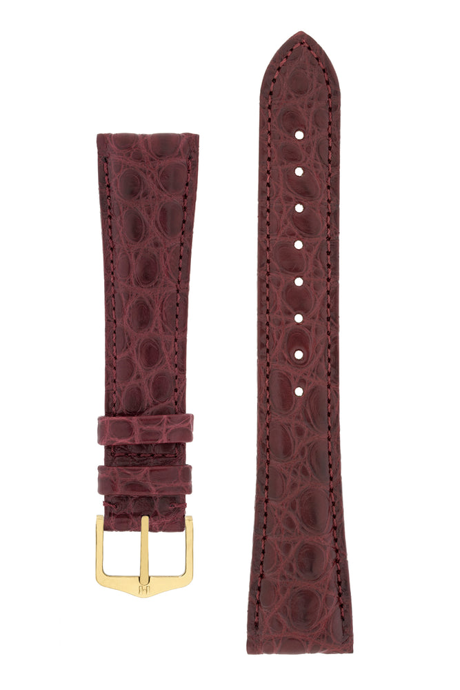 Load image into Gallery viewer, Hirsch Regent Genuine Alligator Leather Watch Strap in Burgundy (with Polished Gold Steel H-Tradition Buckle)