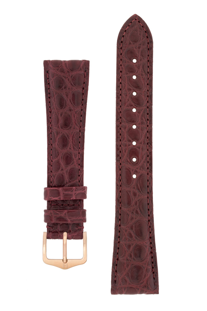 Hirsch Regent Genuine Alligator Leather Watch Strap in Burgundy (with Polished Rose Gold Steel H-Tradition Buckle)