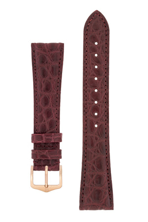 Load image into Gallery viewer, Hirsch Regent Genuine Alligator Leather Watch Strap in Burgundy (with Polished Rose Gold Steel H-Tradition Buckle)