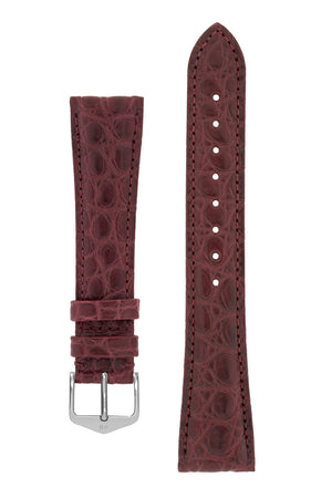 Hirsch Regent Genuine Alligator Leather Watch Strap in Burgundy (with Polished Silver Steel H-Tradition Buckle)