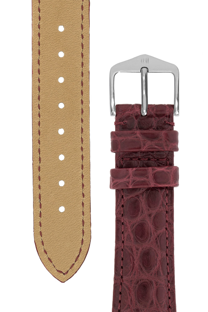 Load image into Gallery viewer, Hirsch Regent Genuine Alligator Leather Watch Strap in Burgundy (Underside & Tapers)