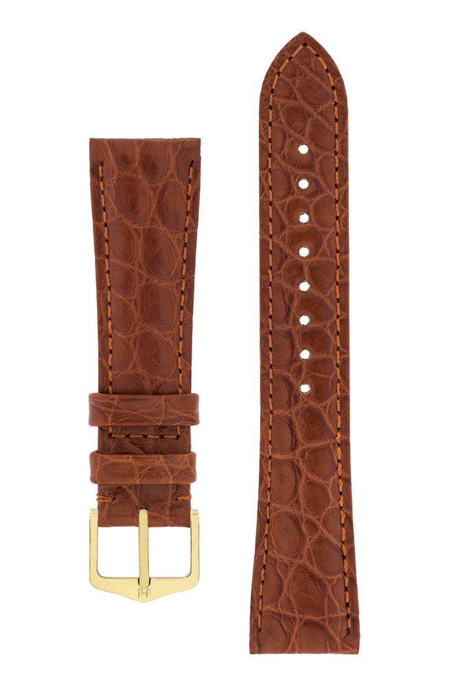 Hirsch Regent Genuine Alligator Leather Watch Strap in Gold Brown (with Polished Gold Steel H-Tradition Buckle)