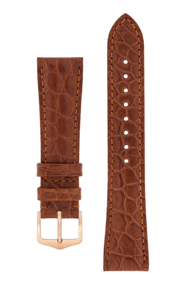 Hirsch Regent Genuine Alligator Leather Watch Strap in Gold Brown (with Polished Rose Gold Steel H-Tradition Buckle)
