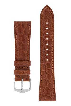 Hirsch Regent Genuine Alligator Leather Watch Strap in Gold Brown (with Polished Silver Steel H-Tradition Buckle)