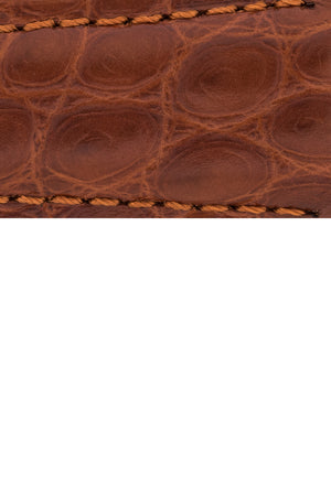 Hirsch Regent Genuine Alligator Leather Watch Strap in Gold Brown (Close-Up Texture Detail)