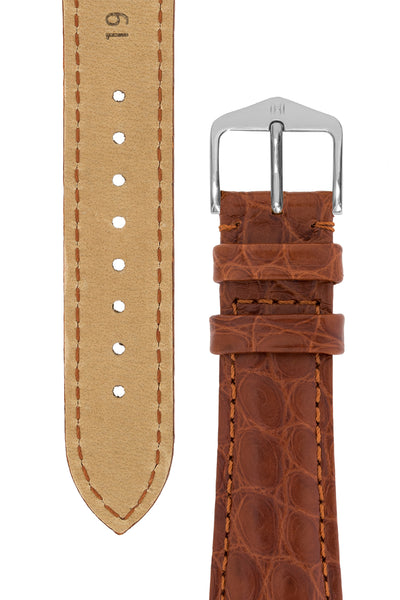 Hirsch REGENT Genuine Alligator Leather Watch Strap in GOLD BROWN