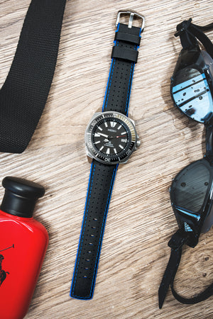 Hirsch Robby Sailcloth Effect Performance Watch Strap in Black with Blue Rubber Lining (Promo Photo)