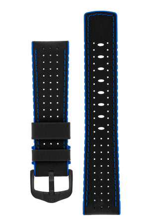 Hirsch Robby Sailcloth Effect Performance Watch Strap in Black with Blue Rubber Lining (with Black PVD-Coated Steel H-Active Buckle)