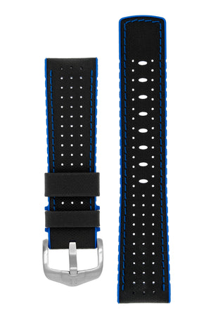Hirsch Robby Sailcloth Effect Performance Watch Strap in Black with Blue Rubber Lining (with Brushed Silver Steel H-Active Buckle)