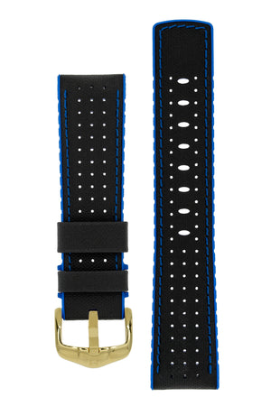 Hirsch Robby Sailcloth Effect Performance Watch Strap in Black with Blue Rubber Lining (with Polished Gold Steel H-Active Buckle)