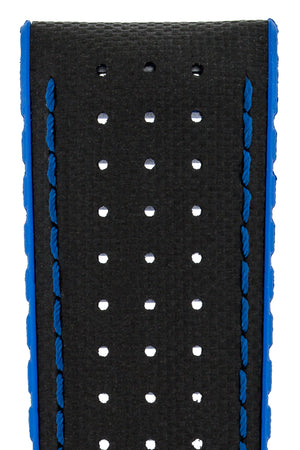 Hirsch Robby Sailcloth Effect Performance Watch Strap in Black with Blue Rubber Lining (Close-Up Texture Detail)