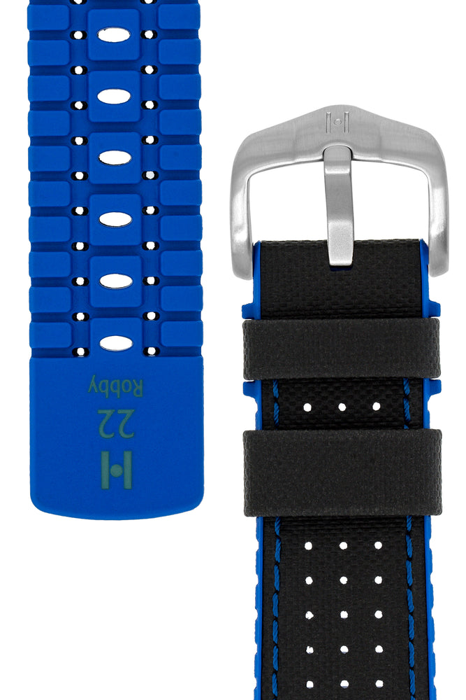 Hirsch Robby Sailcloth Effect Performance Watch Strap in Black with Blue Rubber Lining (Underside & Tapers)