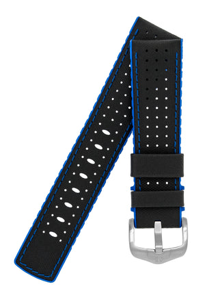 Hirsch Robby Sailcloth Effect Performance Watch Strap in Black with Blue Rubber Lining