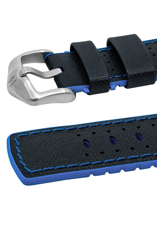 Hirsch Robby Sailcloth Effect Performance Watch Strap in Black with Blue Rubber Lining (Keepers)