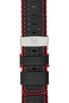 Hirsch ROBBY Sailcloth Effect Performance Watch Strap in BLACK / RED
