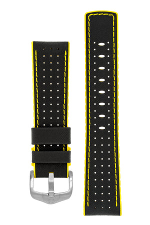 Hirsch Robby Sailcloth Effect Performance Watch Strap in Black with Yellow Rubber Lining (with Brushed Silver Steel H-Active Buckle)
