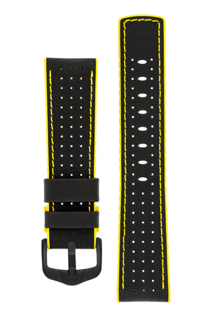 Hirsch Robby Sailcloth Effect Performance Watch Strap in Black with Yellow Rubber Lining (with Black PVD-Coated Steel H-Active Buckle)