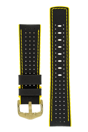Hirsch Robby Sailcloth Effect Performance Watch Strap in Black with Yellow Rubber Lining (with Polished Gold Steel H-Active Buckle)